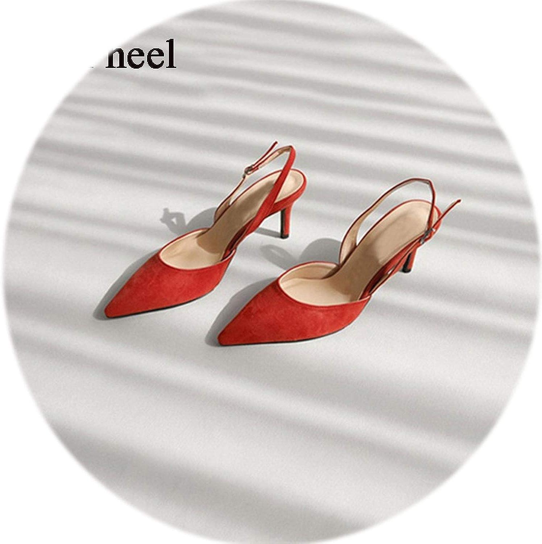 Gooding life Elegant Slingbacks High Heel Women Pumps Faux Suede Office Ladies shoes Valentine shoes