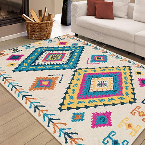 dusg Teppich Modern Wohnzimmer Kinderteppich Indoor Traditioneller Rug Orientalisch Carpet Boho Marokkanisch Reis weiß blau gelb 160 × 230cm
