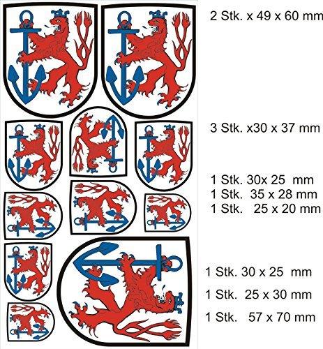 Wappen SET Schild Düsseldorf Aufkleber