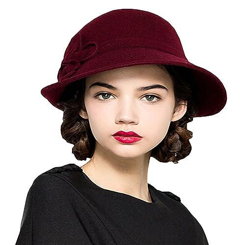 e7d4b5daa91 Maitose Women s Wool Felt Flowers Church Bowler Hats