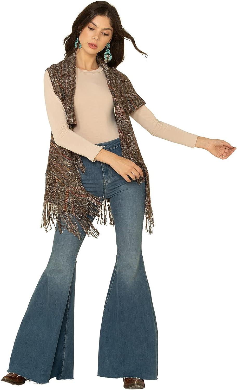 Shyanne Women's Olive Marled Stripe Fringe Sweater Vest Olive Medium