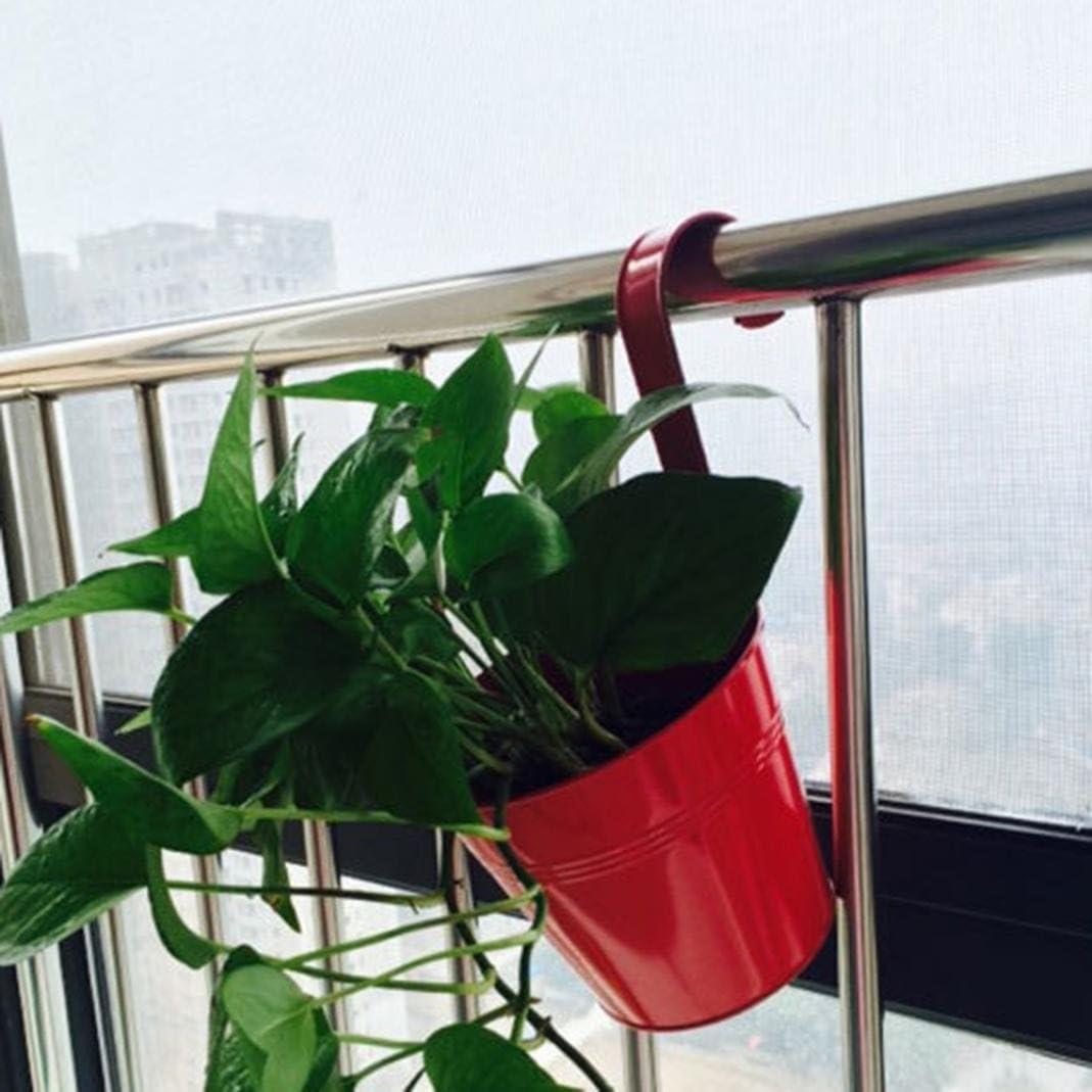 Blue Metal Iron Hanging Flower Pot Assorted Colors Balcony Garden Planter Pots Bucket Plant Holders for Outdoor Indoor Plant Display