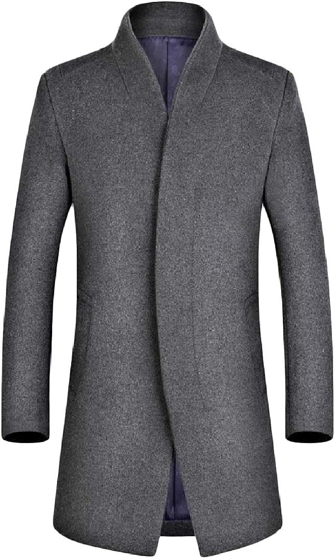 DressU Men's Stand Collar Lounge Mid-Long Oversized Solid Button Woolen Overcoat