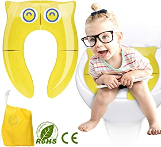 ALLYAOFA Foldable Potty Toilet Training Seat, Portable Travel Reusable Toddlers Toilet Seat with 4 Non-Slip Silicone Pads ...