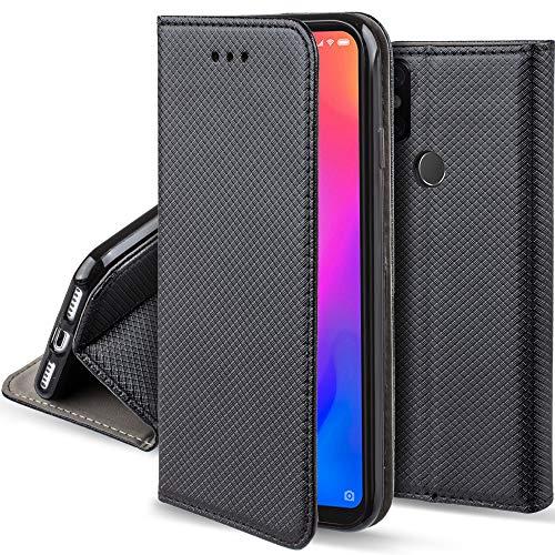 Moozy Funda para Xiaomi Mi A2 Lite, Xiaomi Redmi 6 Pro, Negra - Flip Cover Smart Magnética con Soporte y Cartera para Tarjetas