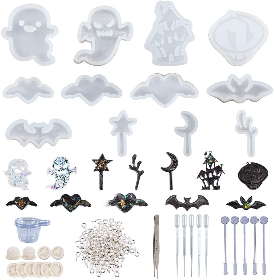 Gifts OLYCRAFT Louisville-Jefferson County Mall 12pcs Halloween Theme Silicone Jewelry Molds Cast Resin