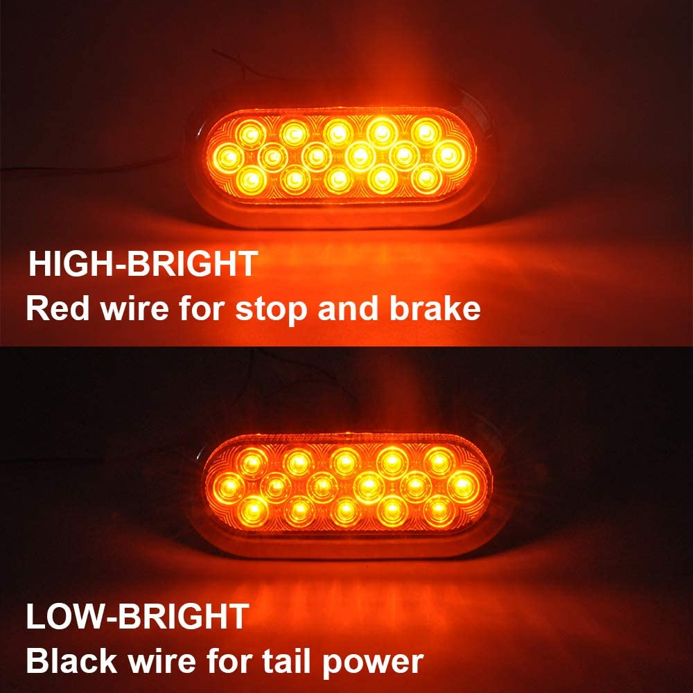 10-30V SHILIDUO 2PCS LED 6.7 Inch Oval Trailer Truck Light 12V// 24V Stop Turn Tail Accessories Replacement for Jeep RV Trucks Yellow IP66 Waterproof