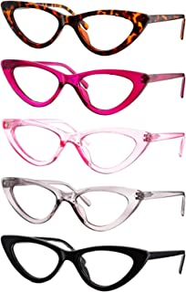 Yogo Vision Reading Glasses 5 Pk Readers for Women Cateye Eyeglasses and Light Spring Hinge Frame