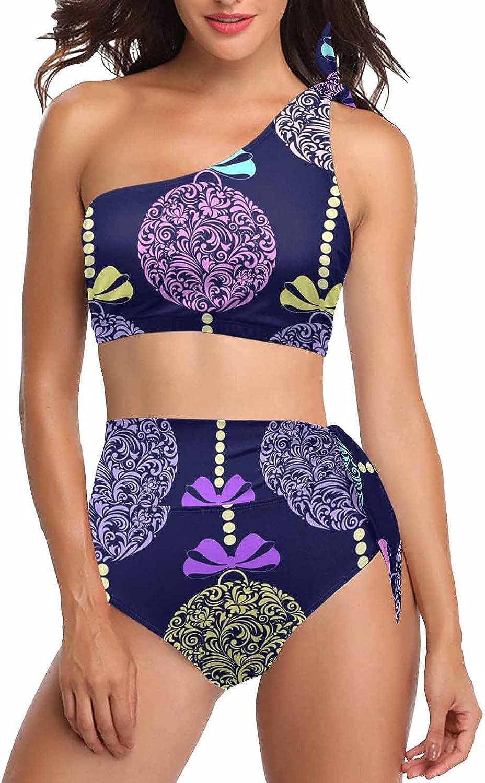 InterestPrint Cartoon Watermelons Women One Shoulder Swimsuit 2 Pieces High Waisted Bikini Sets