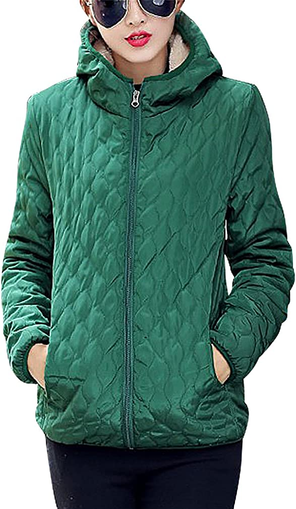 BLady Women's Quilted Zip Up Fleece Lined Hooded Slim Cotton Filled Jacket