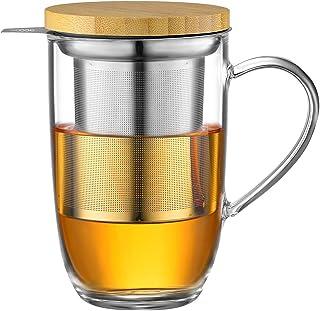 ecooe 440ml glas te kopp borosilikat te kopp te glas med ultrafin 18/10 sil av rostfritt stål Naturligt bambulock förtjock...