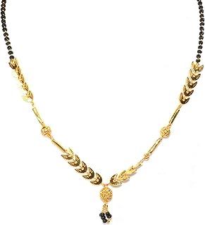 Frolics India Designer Golden Petal Short Black Beads Chain Alloy Mangalsutra For Women