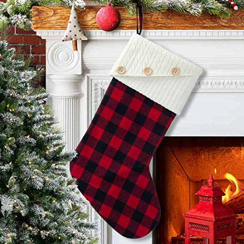 EDLDECCO 20 Inches Christmas Stocking Buffalo Check with Knitted Cuff Red and Black Plaid Home Xmas Tree Mantel Holiday Decoration Ornaments