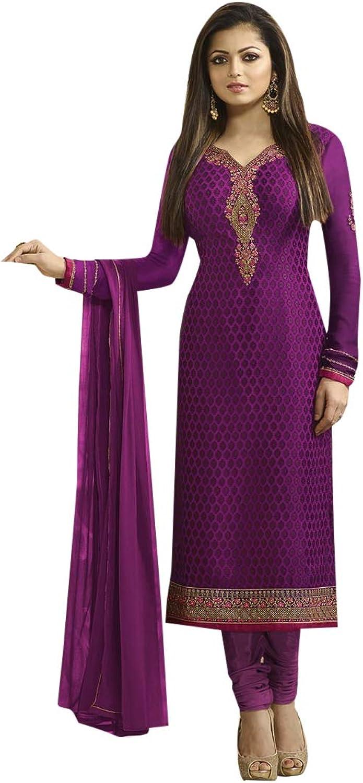 Purple Salwar kameez Straight Designer Bollywood Collection Suit 7391