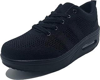 Mujer Zapatillas de Deporte Malla Air Cuña Cómodos Sneakers Mujer Casual Running Senderismo Ligero Mesh Zapatillas Gris Negro