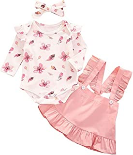 T TALENTBABY Neugeborenes Kleinkind Kleinkind Baby Mdchen R¨¹schen Schulter Top  Floral Pants  Hut  Bogen Stirnband Kleidung Sets Outfits Geschenke