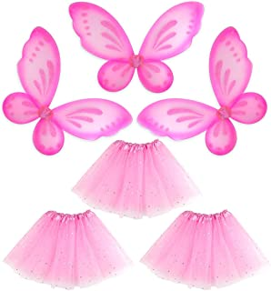 Girls Fairy Angel Wings Princess Butterfly Ballet Sparkle Tutu Birthday 3 Pack