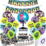 TOYOYO Video Game Party Supplies for Birthday Party, 87 Pcs Game Theme Party Favors - Banner - Cake Topper - Balloons - Sticker - Tools for Kids, Adults, Boys Gamer Birthday Party Decorations