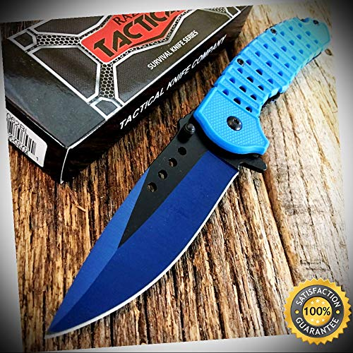 BLUE RAZOR Assorted 8.25'' Spring Assisted Open Rescue Pocket Knife - Outdoor For Camping Hunting Cosplay