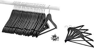 ANH MART Wooden Dress Hangers, Black Wood Suit Clothes Hangers Extra Smooth Finish & Chrome Hook to Organize Your Wardrobe Pack of - 24