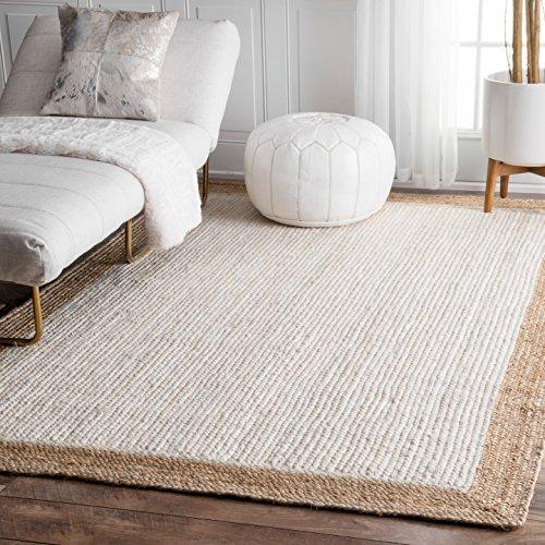 nuLOOM Eleonora Hand Woven Jute Rug, 5' x 8', White