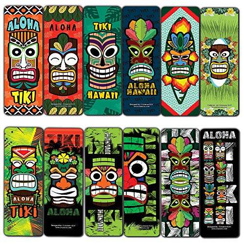 Creanoso Aloha Tiki Design Bookmarks Cards (30-Pack) - Classroom Reward Incentives for Students and Children - Stocking Stuffers Party Favors & Giveaways for Teens & Adults