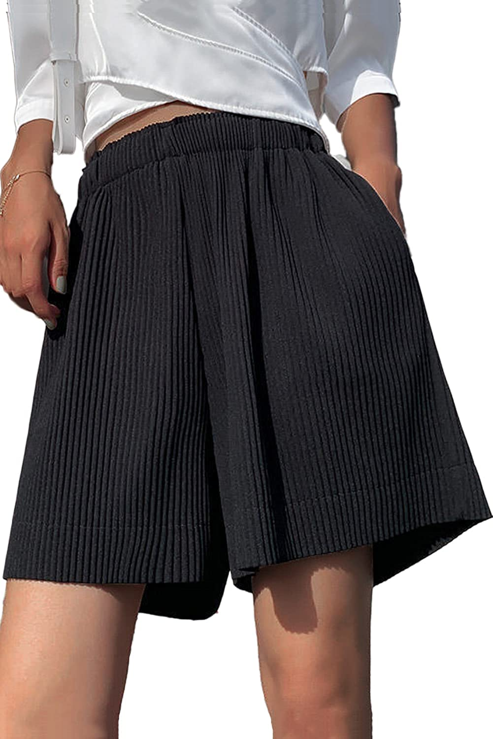 Onesyleaf Womens Shorts for Summer Casual Soft Comfy Elastic High Waisted Loose Fit Pleated Bermuda Shorts with Pockets