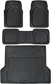 4pc Black Car Floor Mats Set Rubber Tortoise Liners w/Large Cargo Trunk Liner for Auto SUV Trucks