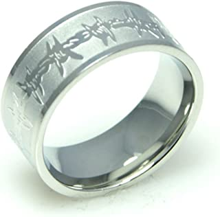 Rush Industries Mens Engraved Barbed Wire Ring - Stainless Steel Ring - Mens Rings