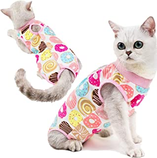 CheeseandU Recovery Suit for Cats Small Dogs Cotton Breathable Soft E-Collar Alternative with Sticker Surgery Suit Ideal for Cats Small Dogs Abdominal Wounds Skin Diseases,After Surgery Wear