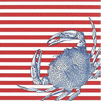 Caspari Napkins Beach Party Clambake Paper Napkins Cocktail Napkins Red Stripe Crab Pk 40