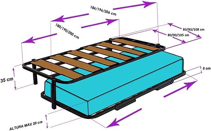 Hogar 24 Cama Nido con 2 Somieres, Estructura Reforzada Doble Barra Superior + Patas, 105x190cm