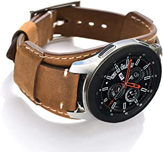 Coobes Compatible with Samsung Galaxy Watch 46mm/Gear S3 Frontier/Classic Bands, 22mm Genuine Leather Cuff Bracelet Replacement Strap with Stainless Steel Buckle for Men Women (Brown)