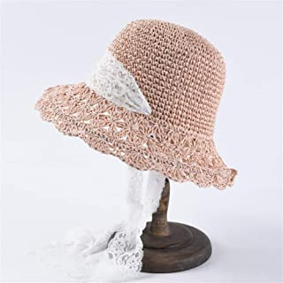 Summer hat Ladies Folding Hooks Straw hat lace Straps Straw hat Students Sweet Sun hat` TuanTuan (Color : Pink)