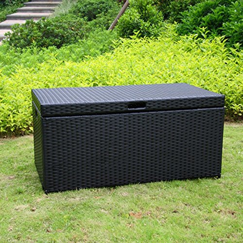 Hot Sale Wicker Lane ORI003-D Outdoor Black Wicker Patio Furniture Storage Deck Box