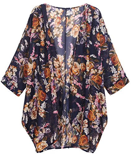OLRAIN Women's Floral Print Sheer Chiffon Loose Kimono Cardigan Capes (X-Large, Yellow-1)