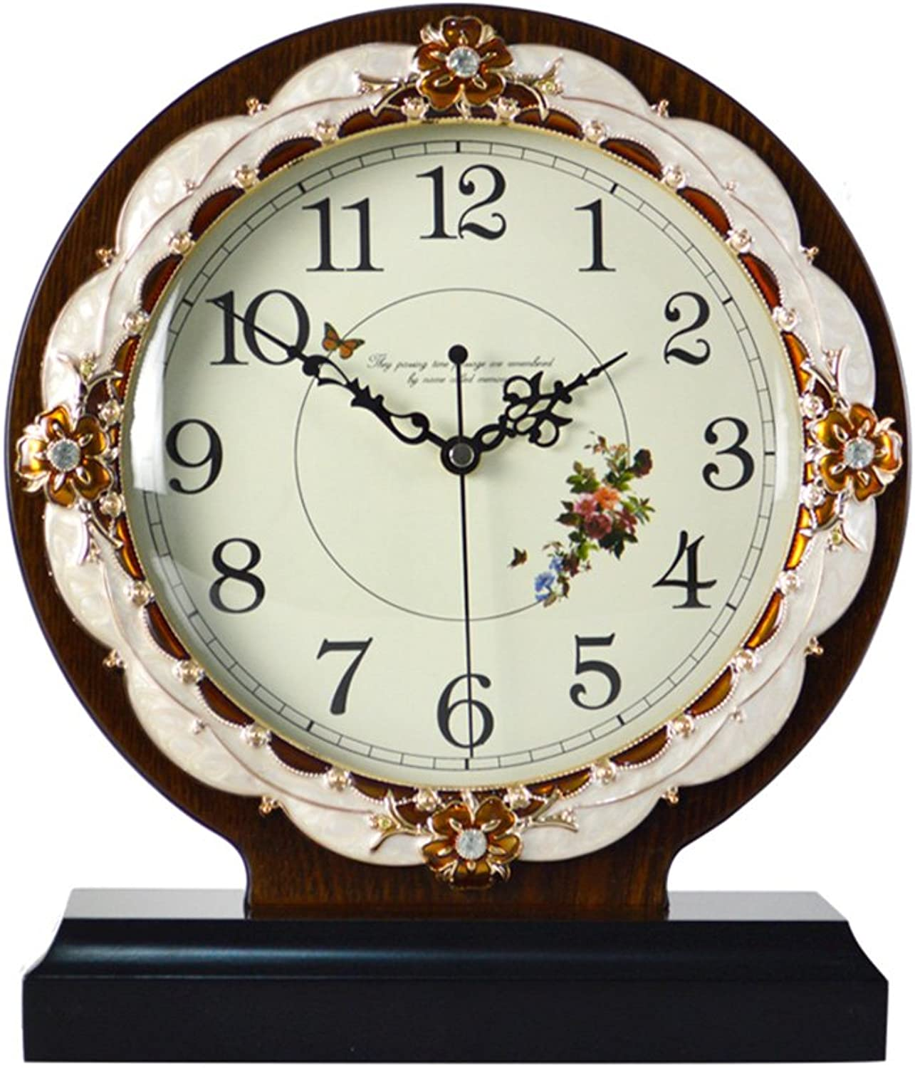 HAOFAY Table Clock, Non-Ticking, Living Room Fashion Antique Wood Frame Clock, Bedroom Desktop Pendulum Pieces 12.2 ×9.8 ×3.1 (Coffee color)