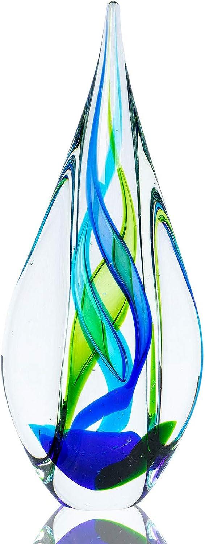 Levandeo Designer Skulptur 34cm Hoch Glas Design Glasskulptur Glasdeko Blau Grün Unikat Tischdeko Deko Geschenkidee