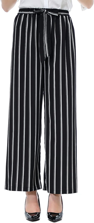 Women Casual Pants Wide Leg Long Pants Lightweight Summer High Waist Drawstring 7/8 Pants Comfortable Cloth Pants