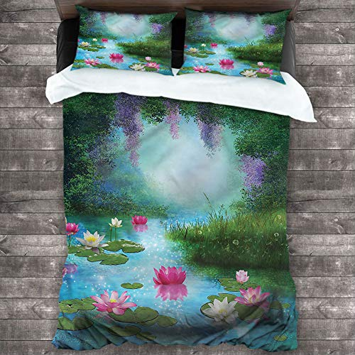 Bedding Duvet Cover Nature,Fantasy Pond Water Lily Cover 3 Piece Set (1 Duvet Cover,2 Pillow Shams) Solid Soft and Breathable, Cal King 80'x90'