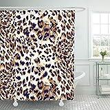 N / A Lila abstrakte Tier Leopard Muster Afrika schwarz Tarnung Dschungel Duschvorhang Polyester Stoff Set W180xH200cm