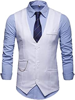 MU2M Men V-Neck Single-Breasted Fashion Slim Casual Suit Vest Waistcoat