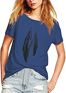 Dubocu Women's Summer Street Style Feather Pattern T-Shirts Casual Loose Top Tee Shirts