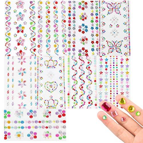9 Hojas Etiqueta Autoadhesiva de Diamantes de Cristal Pegatinas de Piedras Preciosas de Diamantes de Imitación Adhesivas Pegatinas de Gemas para Niños Manualidades, Marcos de Fotos y Tarjetas