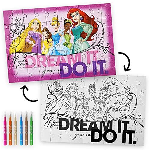 Puzzle para Colorear 50 Pzas. Rompecabezas Disney. Cars. Paw Patrol. Princesas Disney. Frozen. Juegos para Niños. Juegos Educativos. Puzzle Infantil. (Princesas Disney)