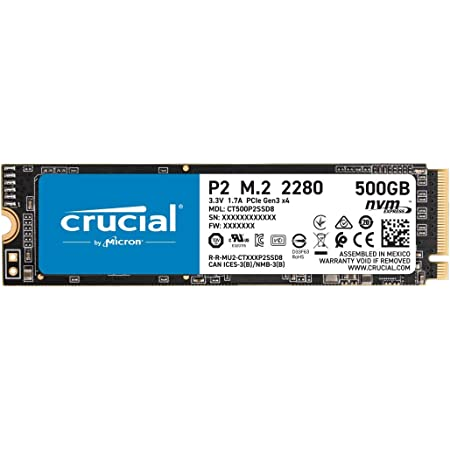Crucial P2 500GB 3D NAND NVMe PCIe M.2 SSD Up to 2400MB/s - CT500P2SSD8