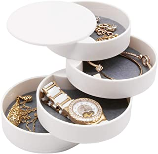 4 Layers Jewelry Organizer Box 360°Rotating Showcase Storage Organizer Rings Necklace Bracelet Earrings Holder, Gift for Girls Mother Women