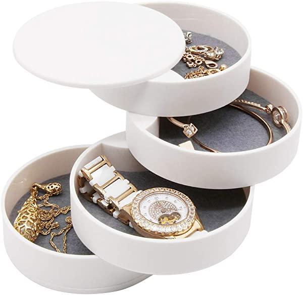 4 Layers Jewelry Organizer Box 360 Rotating Showcase Storage Organizer Rings Necklace Bracelet Earrings Holder Gift For Girls Mother Women