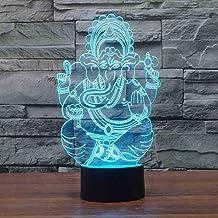 RJGOPL Visual 7 kleuren Bedroom Decor Living Room 3D Led India Lord Elephant Nachtlampje Ganesha Table Desk Lamp Kids Slaa...