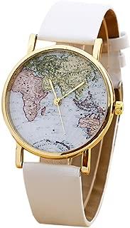 Unisex World Map Quartz Watches Men Women Fashion Trends Watch Boy Girl Students Simple Leisure Brown PU Leather Wrist Watch